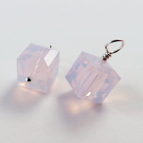 Pink Cube Crystal Earrings