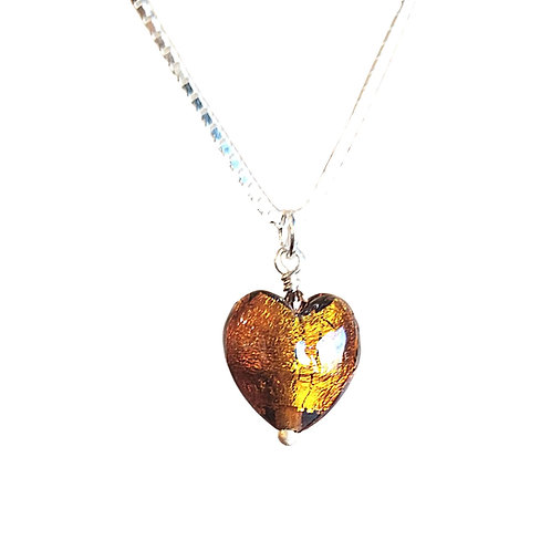 Topaz Murano Glass Heart-Shaped Pendant on Sterling Silver Chain