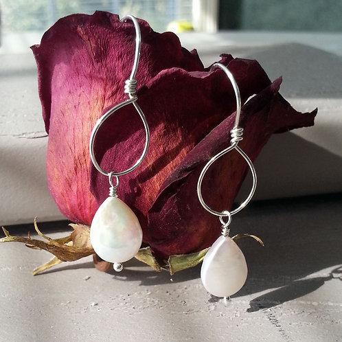 White Teardrop Coin Pearl on Hoop Earrings