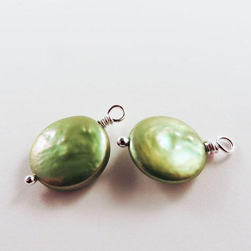 Green Coin Pearl Earrings