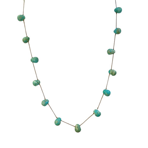 Southwestern Style Turquoise Tin Cup Necklace Knotted on Beige Silk