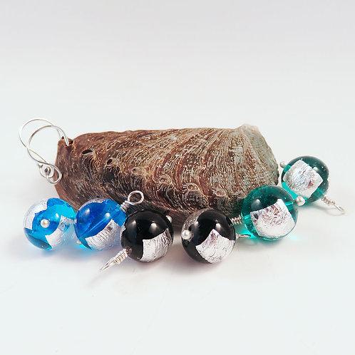 Interchangeable Blue, Black and Green Venetian Glass Earring Set