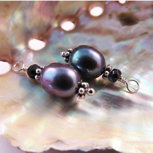 Peacock Pearl Earrings with a Deep Blue Sapphire