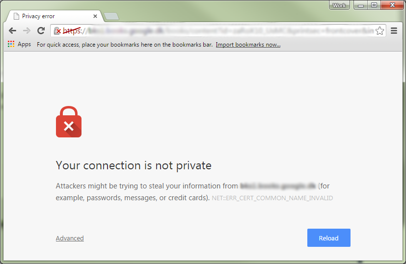 Google Chrome browser privacy warning due to insecure connection.