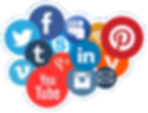 cluster of social media icons and badges