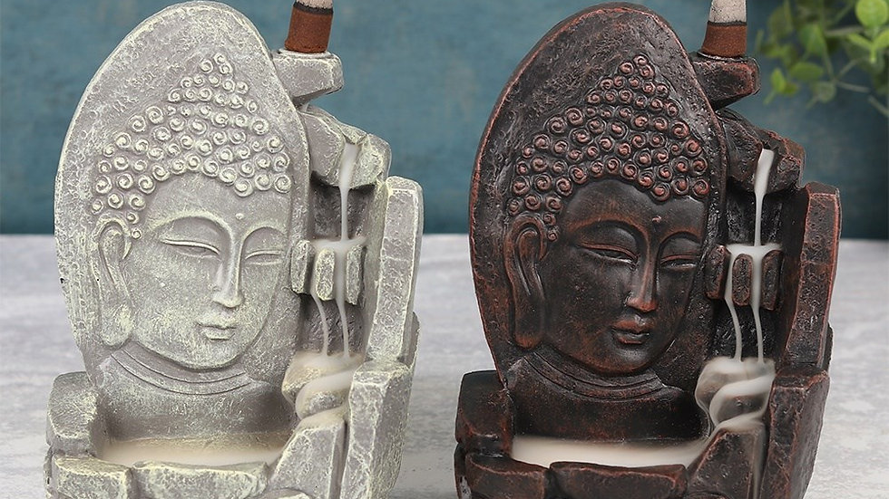 17CM BUDDHA FACE BACKFLOW INCENSE BURNER