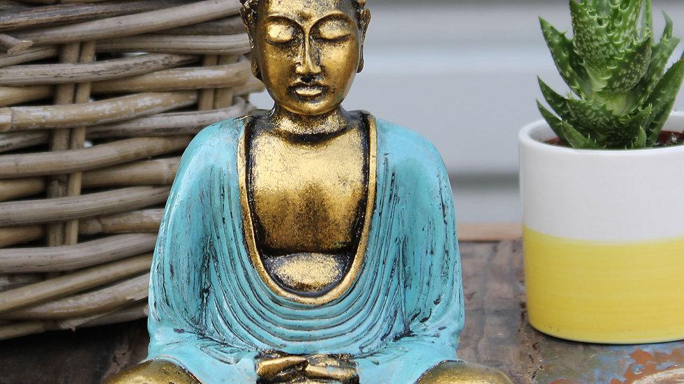 Teal & Gold Buddha - Medium