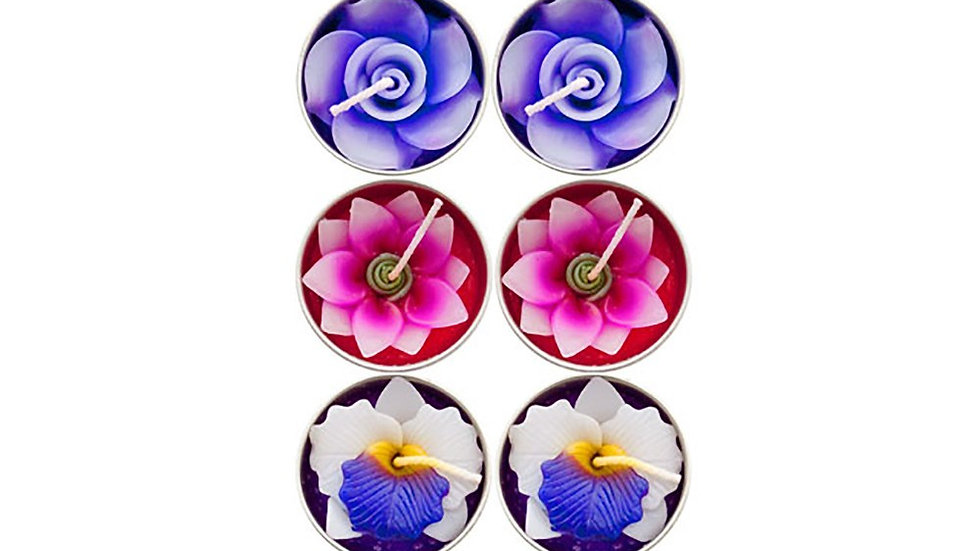 PACK OF 10 SCENTED FLOWER CANDLES