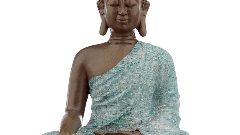 Thai Buddha, Brown, White and Turquoise - Love
