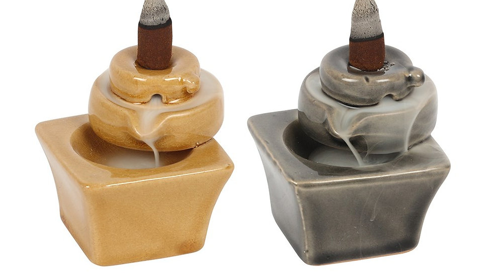 7CM GREY AND TAN FOUNTAIN BACKFLOW INCENSE BURNER