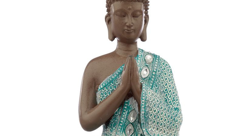 Thai Buddha, Brown, White and Turquoise - Meditating
