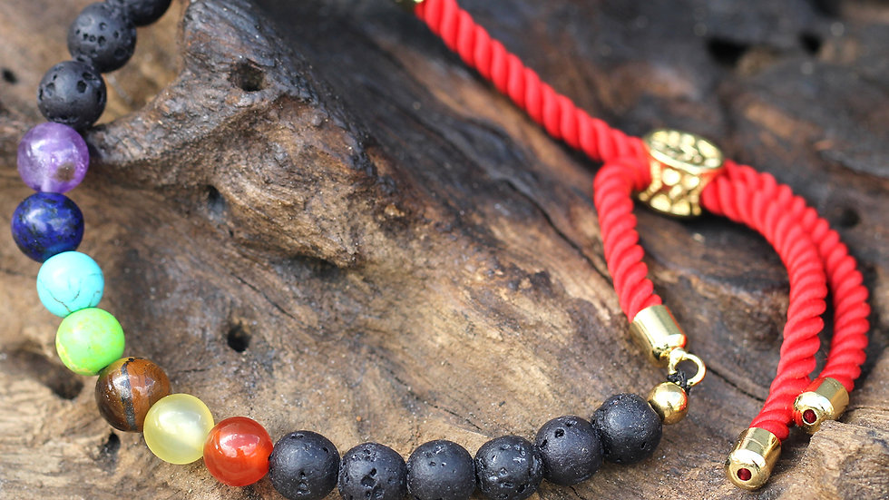 18K Gold Plated Gemstone Royal String Bracelet - Lava Stone Chakra