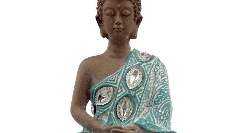Thai Buddha, Brown, White and Turquoise - Lotus  Material: Resin
