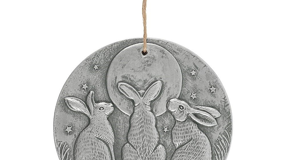 SILVER EFFECT MOON SHADOWS PLAQUE BY LISA PARKER
