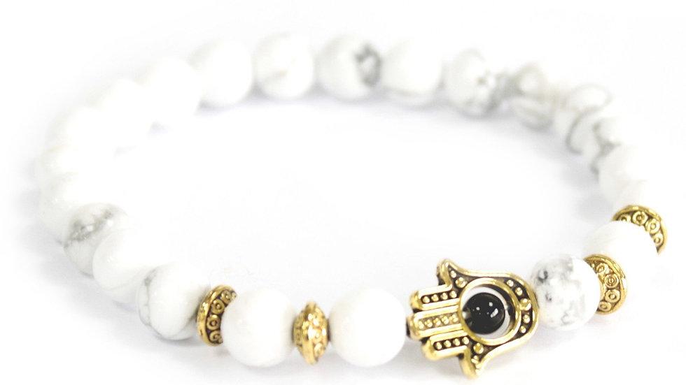 Gold Hamsa / White Stone - Gemstone Bracelet