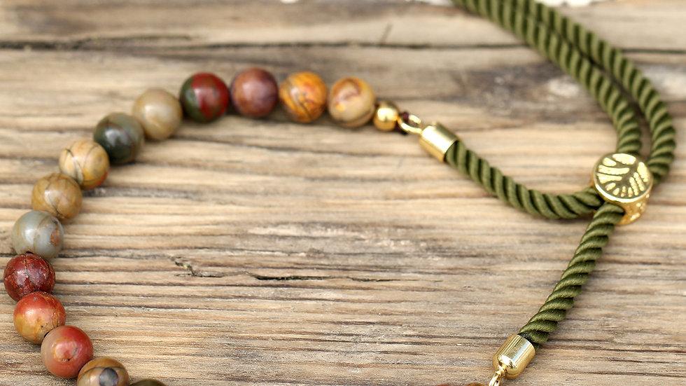 18K Gold Plated Gemstone Moss String Bracelet - Picasso Jasper