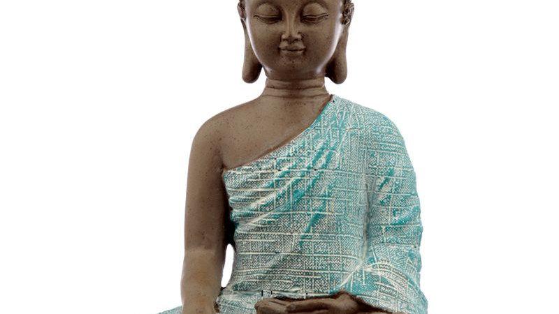 Thai Buddha, Brown, White and Turquoise - Peace