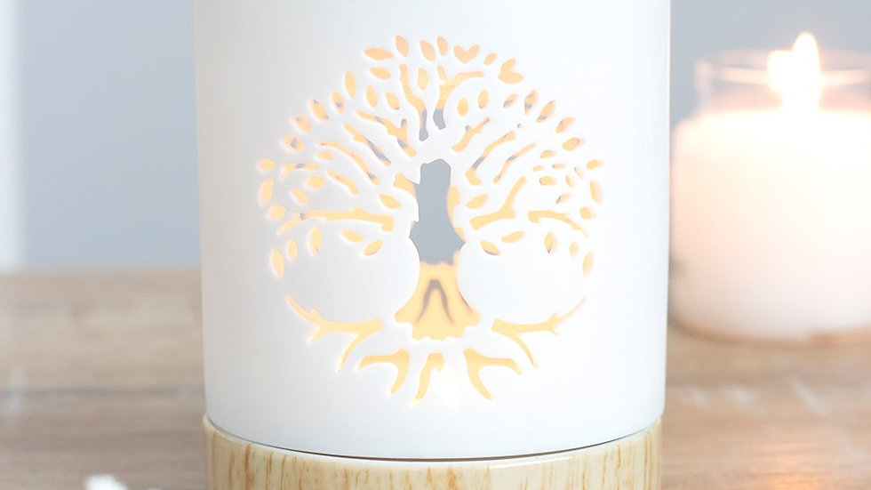 WHITE TREE OF LIFE CUT OUT OIL BURNER