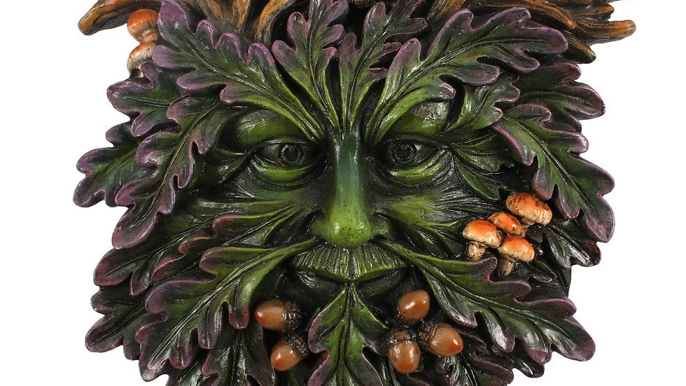 Green Man Small Face Wall Plaque