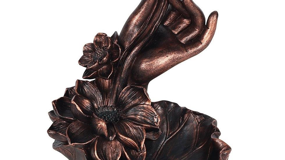BRONZE EFFECT HAND WITH FLOWER BACKFLOW INCENSE BURNER
