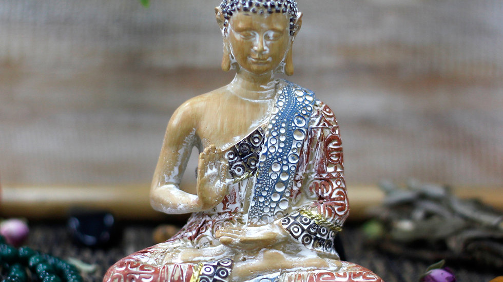 Thai Buddha - Protection - Terracotta & Sky Blue 15 cm