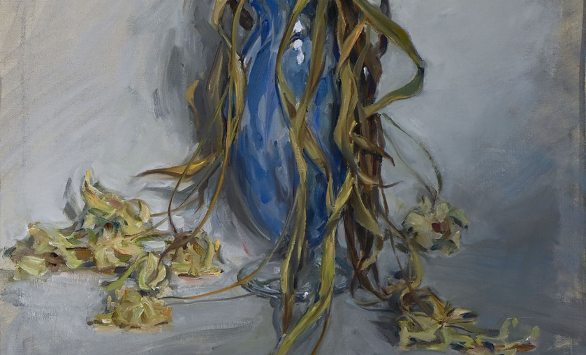 "Jason Bouldin (b. 1965), ""Tulips in Nailsea Glass Vase; Arabesque,"" 2010. Oil on Canvas."