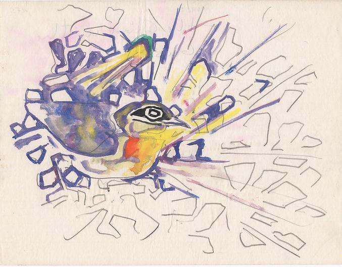 1. Bird in Bush, c. 1960. Watercolor on