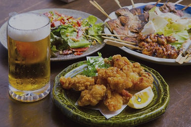 Plates of food and drink