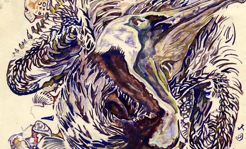 """Walter Inglis Anderson (1903-1965), """"Dead Pelican,"""" c. 1955. Watercolor."""