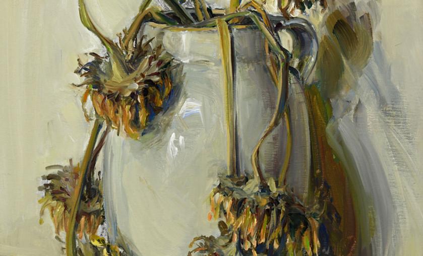 "Jason Bouldin (b. 1966), ""Sunflowers in Grandmama's Crock,"" 2018, Oil on Canvas."