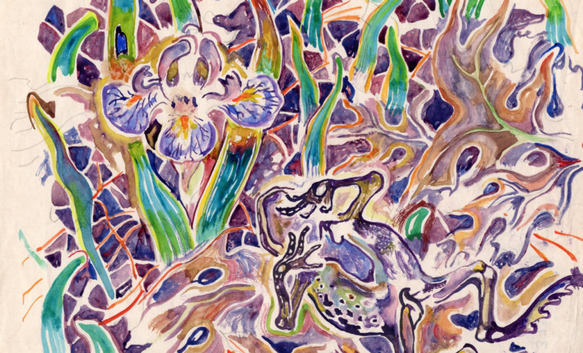 """Walter Inglis Anderson (1903-1965), """"Frog and Iris,"""" c. 1960. Watercolor on Paper."""