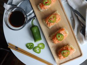 Spicy Salmon on Crispy Rice