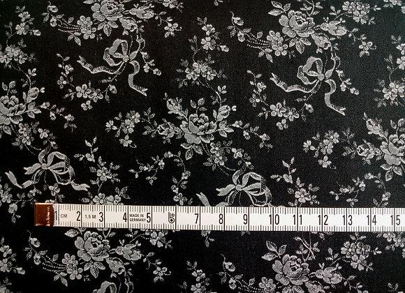 Tissu PATCH Fleurs et Rubans noir et blanc