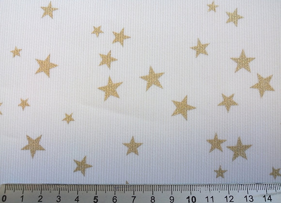 Tissu de coton imprimé ÉTOILES GRISES ou ÉTOILES OR. Coupons à partir de :