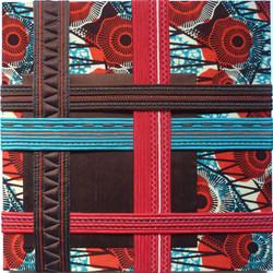 Composition textile abstraite AFRIQUE 50 x 50 cm