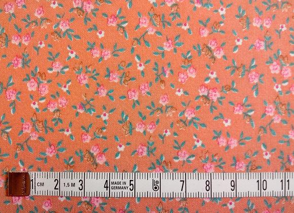 Tissu PATCH Fleurettes sur corail