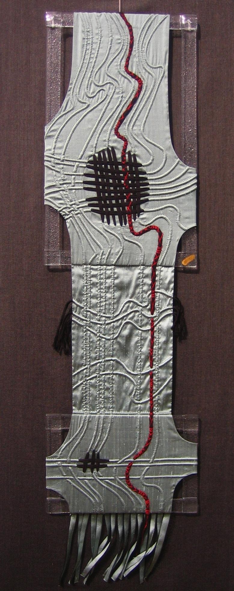 Art textile Fave DE SOIE A SOI  30x115 cm Travail du verre V Ognar