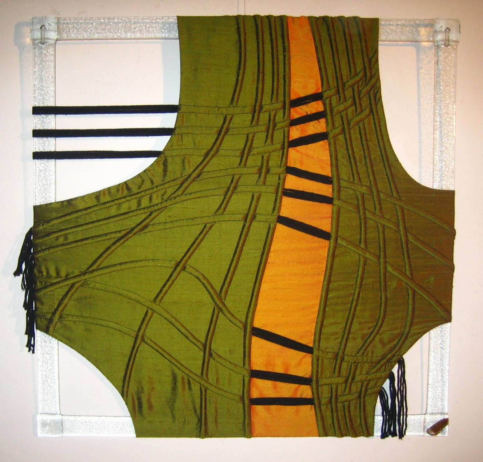 Art textile Fave TRAME II 58x58 cm Soie , verre Travail du verre V Ognar