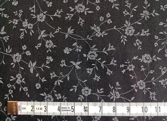 Tissu PATCH Fleurs noir blanc