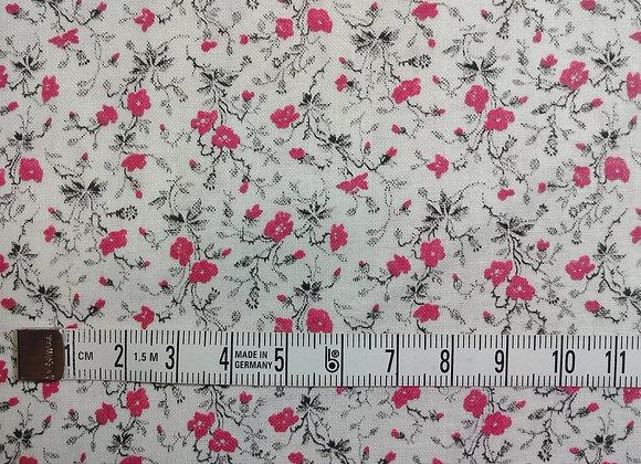 Tissu PATCH Fleurs noir blanc rose