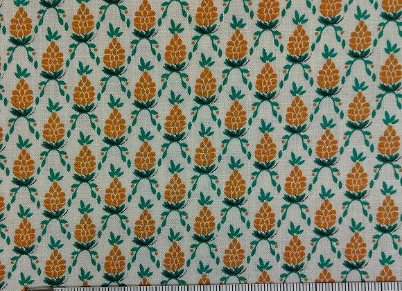 Tissu PATCH Ananas fond blanc