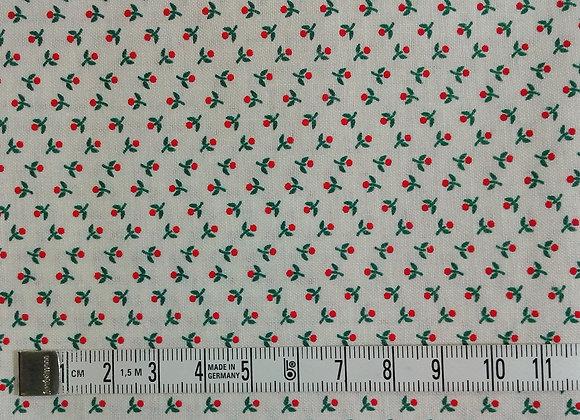 Tissu PATCH Fleurettes rouges et vertes