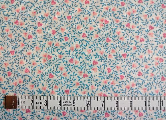 Tissu PATCH Fleurettes cœurs bleu + rose