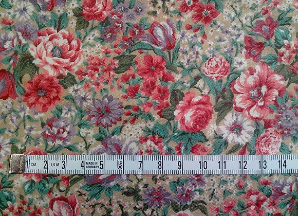 Tissu PATCH Fleurs semi vieux rose