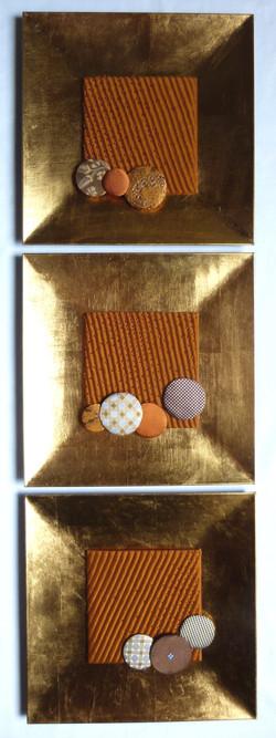 Art textile triptyque IT'S RAINING 30x95 cm