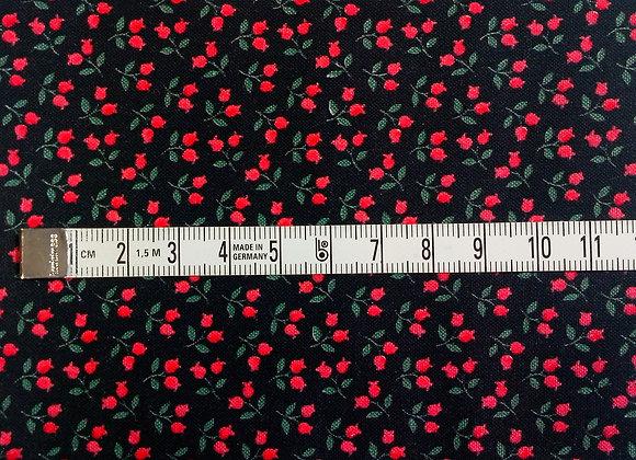 Tissu PATCH Tulipes rouges sur noir