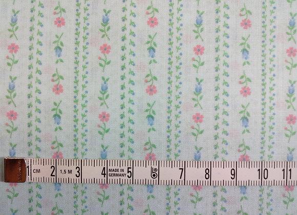 Tissu PATCH Bandes fleurettes bleu