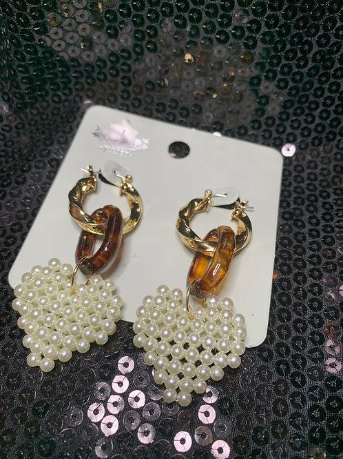 Pearly Heart Drop Earrings