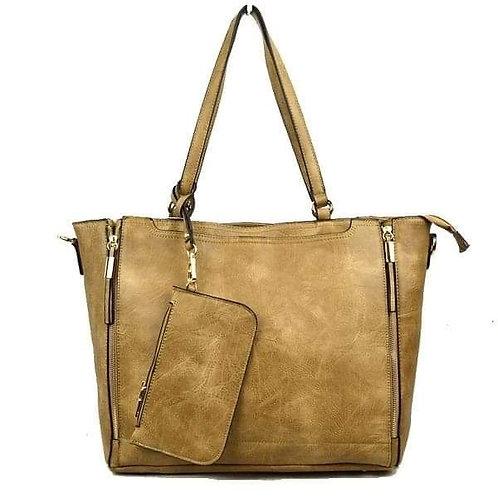 Brown Faux Leather Zipper Bag