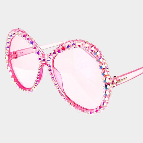 Round Rhinestone Sunglasses